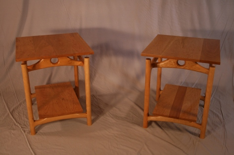 Custom Sculpted Vermont Cherry Side Tables